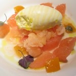 Grapefruit and olive oil: olive oil ice cream, mint and textures of grapefruit