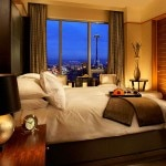 A guest room at Pan Pacific Hotel Seattle