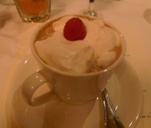 Prévu, Bailey's, Kahlua and coffee topped with whipped cream and raspberry garnish