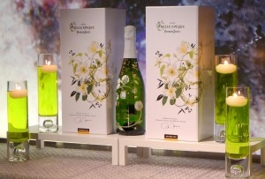 Champagne Perrier-Jouët 2004 Belle Époque Florale Edition on display at Katsuya restaurant in Brentwood, CA