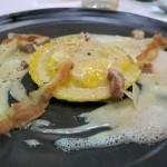Egg ravioli carbonara