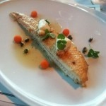 Dover sole meunière with lemon-caper brown butter, blue crab and carrot pearls from Nero's Tuscan Steakhouse at Caesars