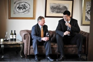 Winemaker Tom Hinde and Yao Ming