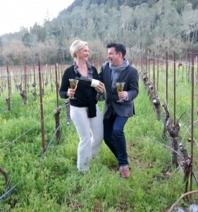Radio Host Joel Riddell at the Spring Mountain Vineyard with Sophie Gayot