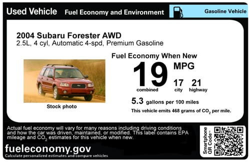 Used-car MPG labels display EPA ratings and emissions for vehicles from the 1984 model year and newer