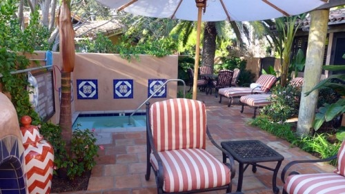Private patio with plunge pool at Rancho Valencia