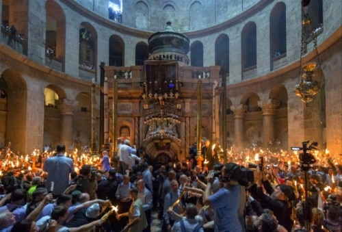 Prayers in the Holy Fire Ceremony at the Holy Sepulcher Church