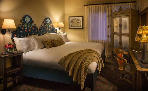 Traditional king bedroom at La Fonda on the Plaza in Santa Fe, New Mexico