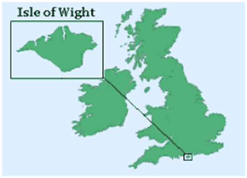 A map of the UK pinpointing the location of the Isle of Wight
