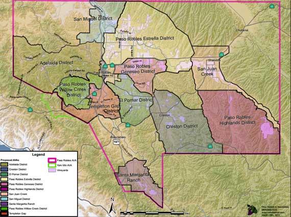 Paso Robles AVAs Map