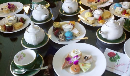 Sweet and savory snacks accompany tea service at the Grand Hotel