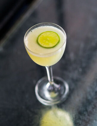 A twist on the traditional gin gimlet, the Copper Gimlet uses vodka and absinthe