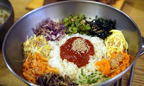 "Bibimbap literally means ""mixed rice"""
