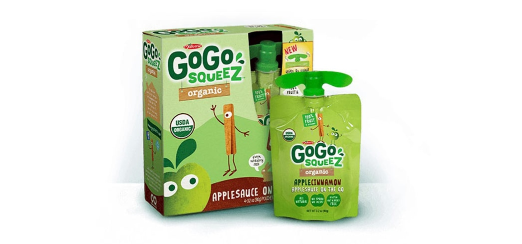 Organic apple sauce on the go