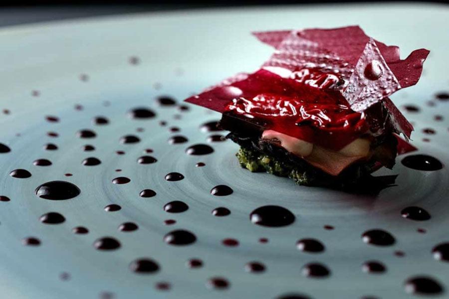 Blueberry, foie gras, miatake, lapsang souchong at Alinea