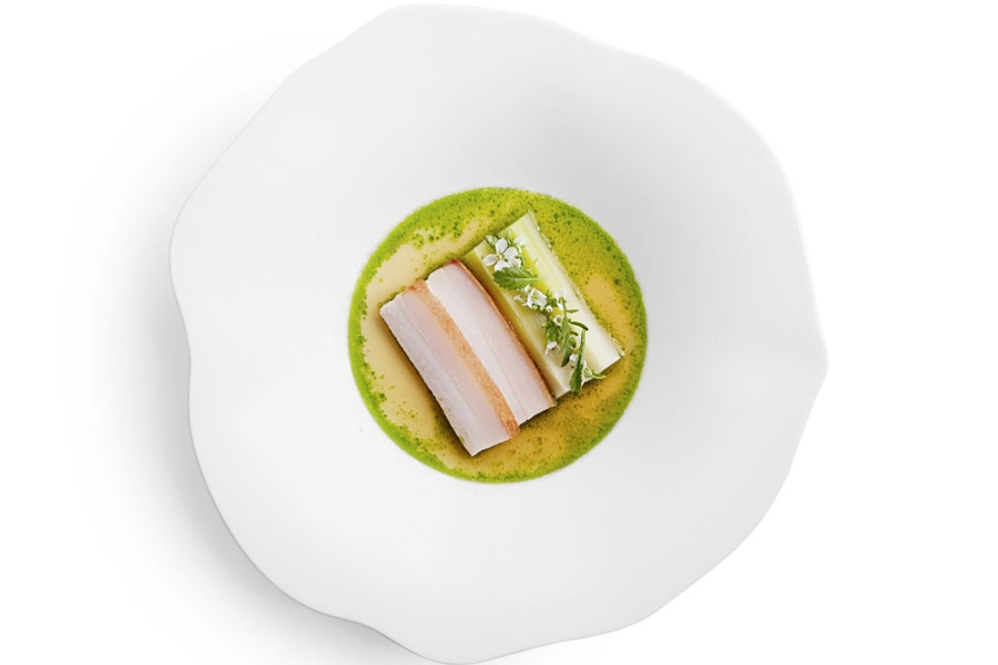 Atera's porcelet with leek, parsley, white miso and pork bone dashi