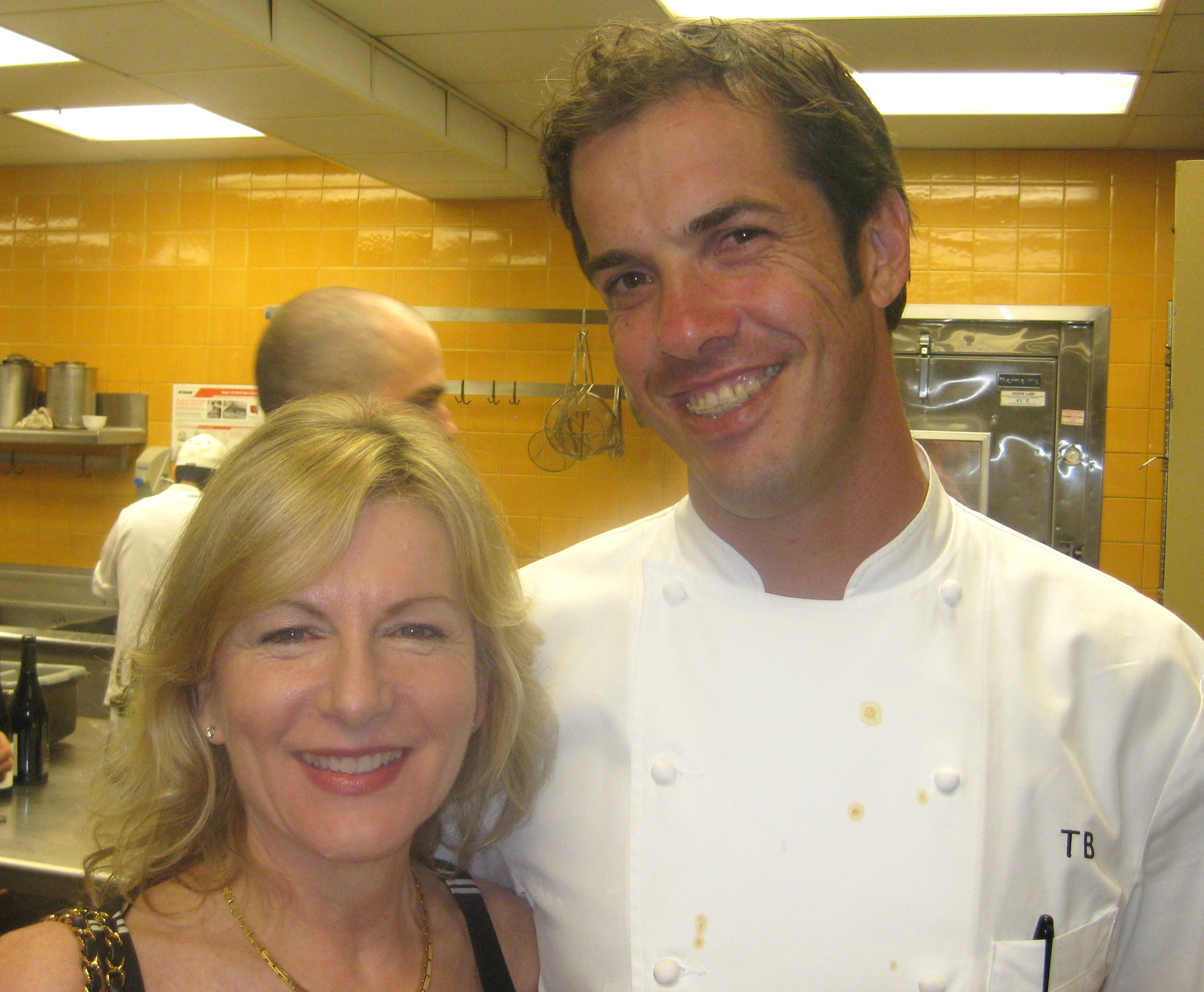 Spago's chef de cuisine Thomas Boyce with Janet Pucino