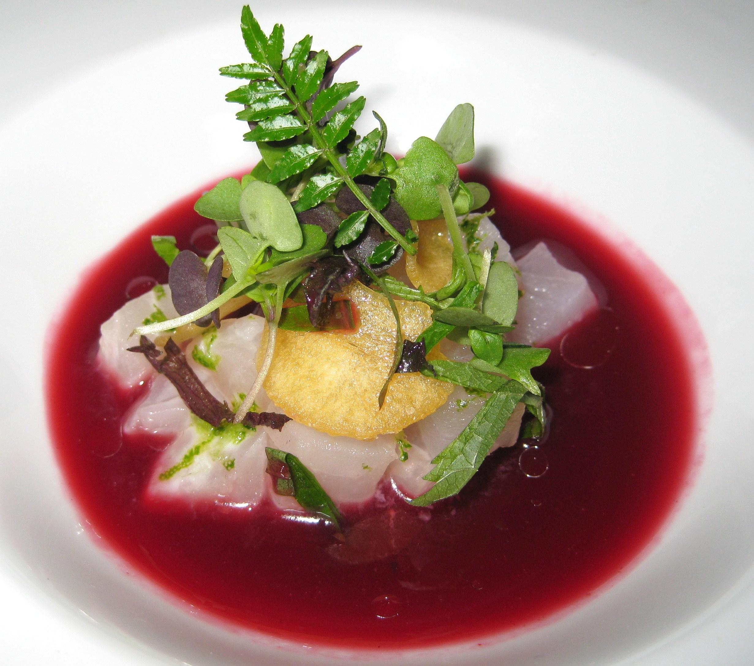 Chef Laurent Gras's diced kinmedai seasoned with sudachi lime juice