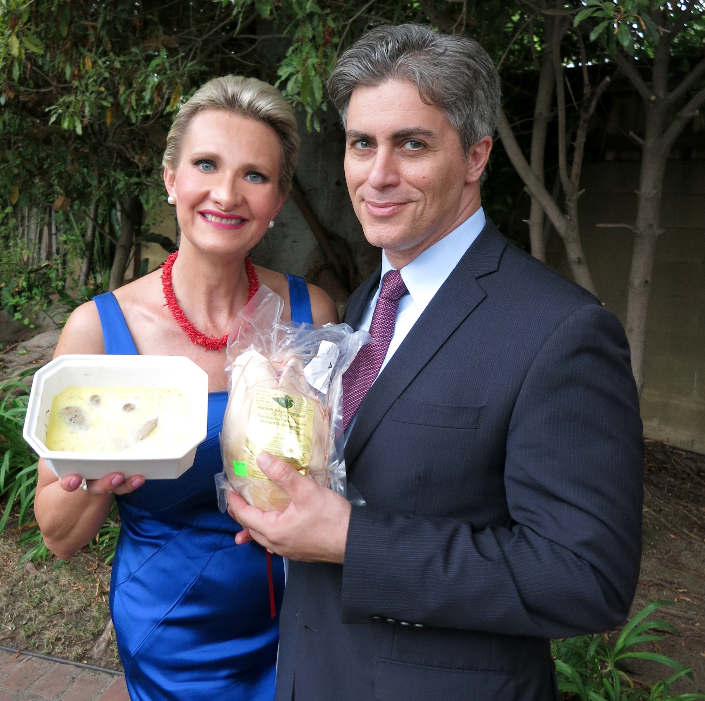Lawyer Michael Tenenbaum and Sophie Gayot with foie gras