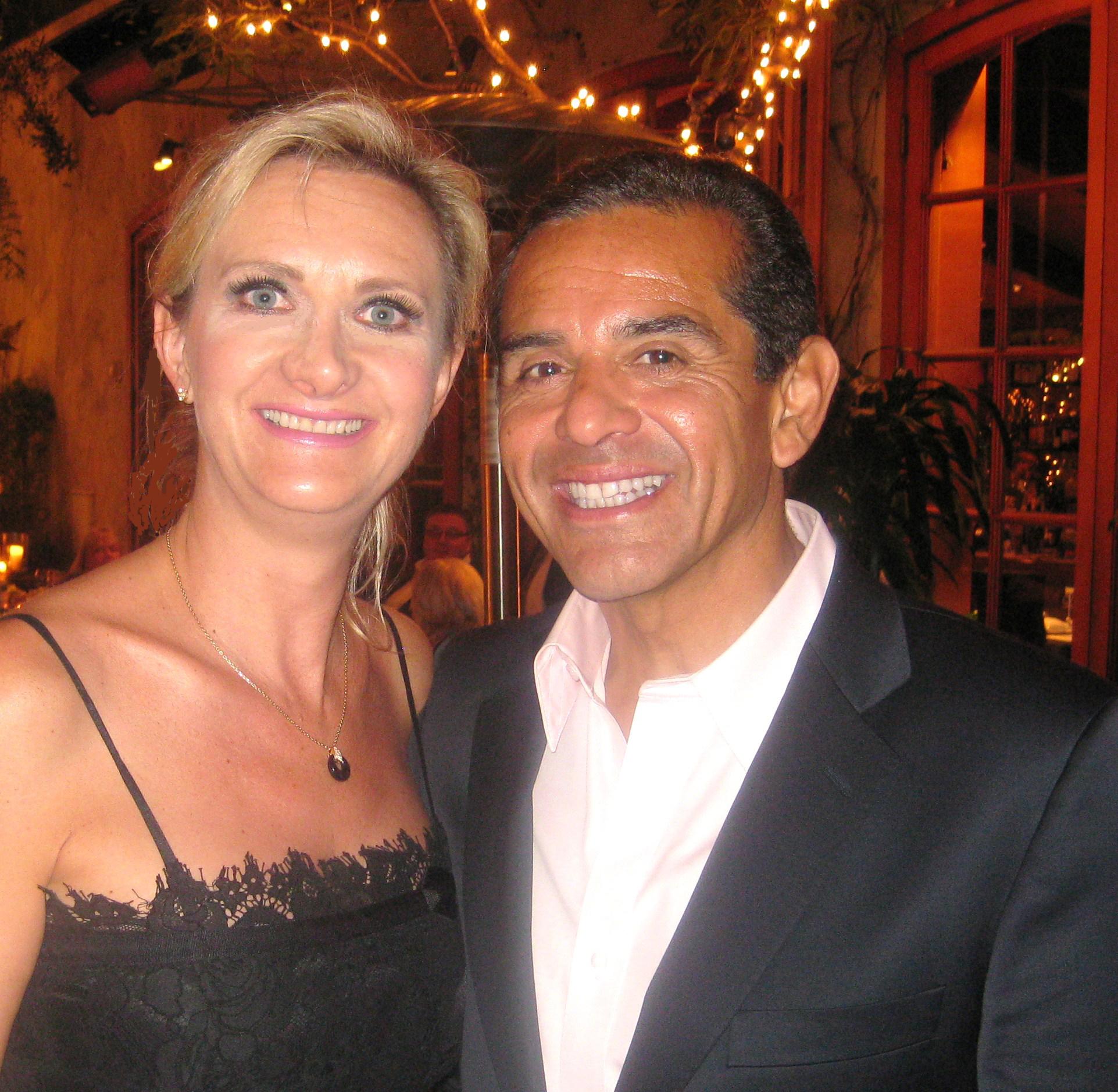 Los Angeles Mayor Antonio Villaraigosa with Sophie Gayot