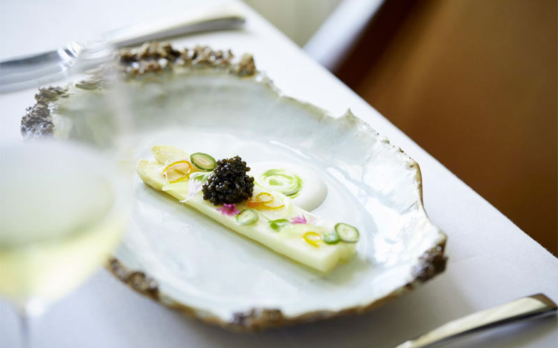 White asparagus with caviar, Aubergine | Carmel, CA