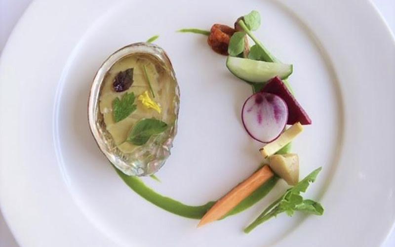 Confit abalone, upcountry vegetables, Chef Mavro, Honolulu, HI