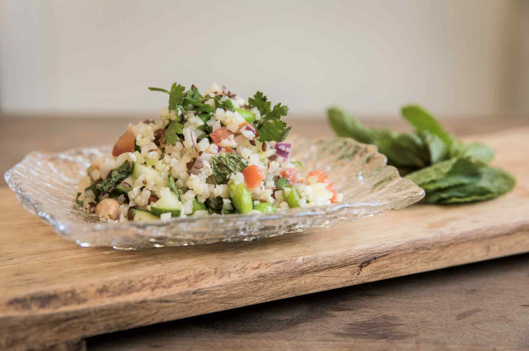 Vegan recipe cauliflower tabbouleh