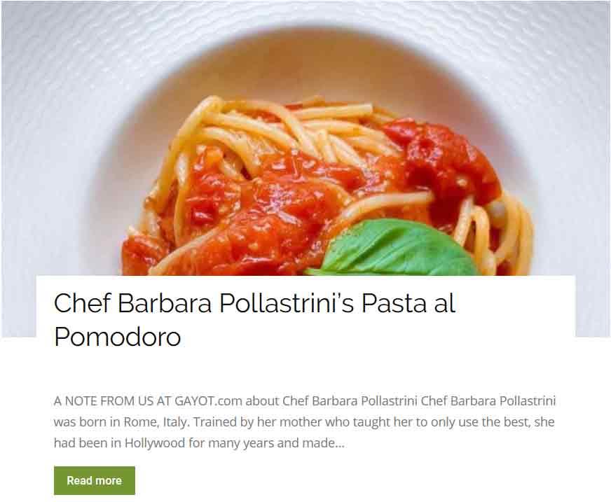 Chef Barbara Pollastrini pasta al pomodoro