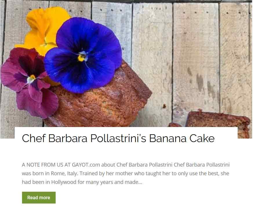 Chef Barbara Pollastrini banana cake