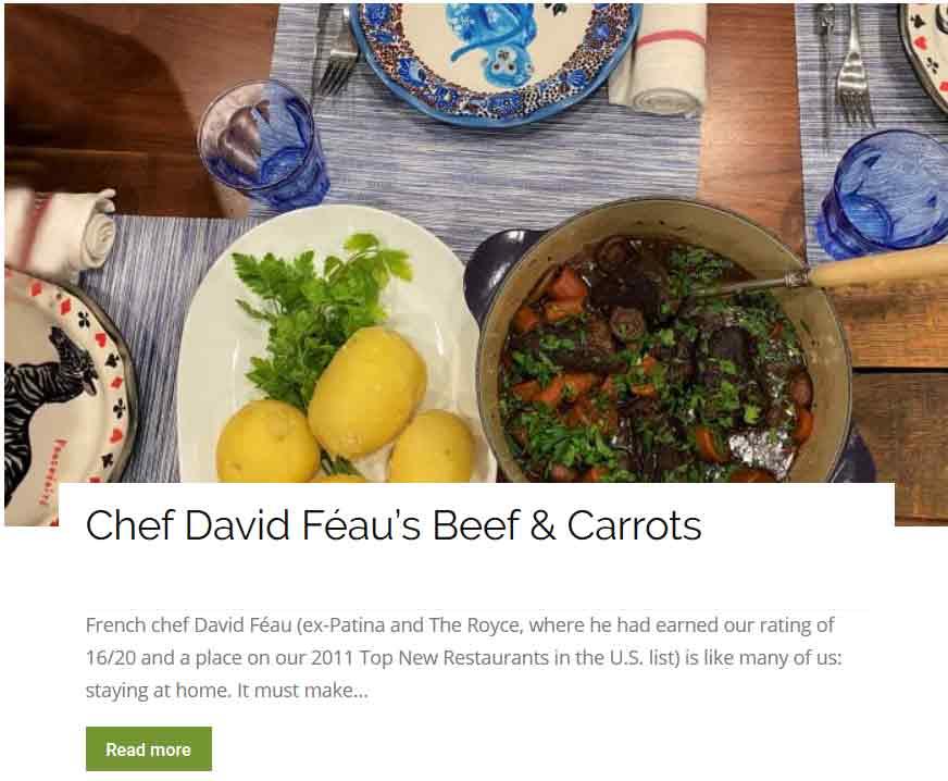 Chef David Féau beef and carrots