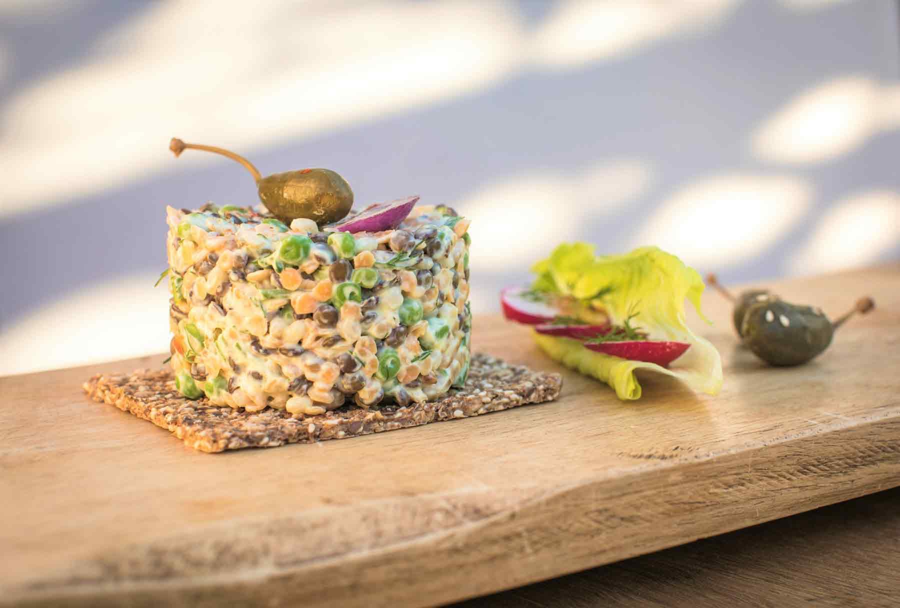 Vegan recipe creamy vegetable tartare with quinoa