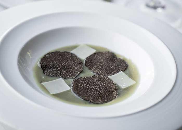 Guy Savoy artichoke soup with black truffles
