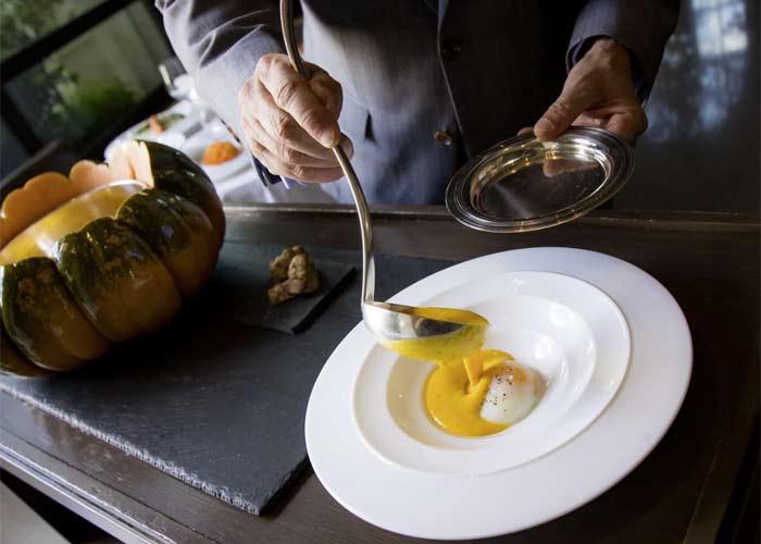 Pumpkin soup at Restaurant Guy Savoy, Las Vegas, Nevada