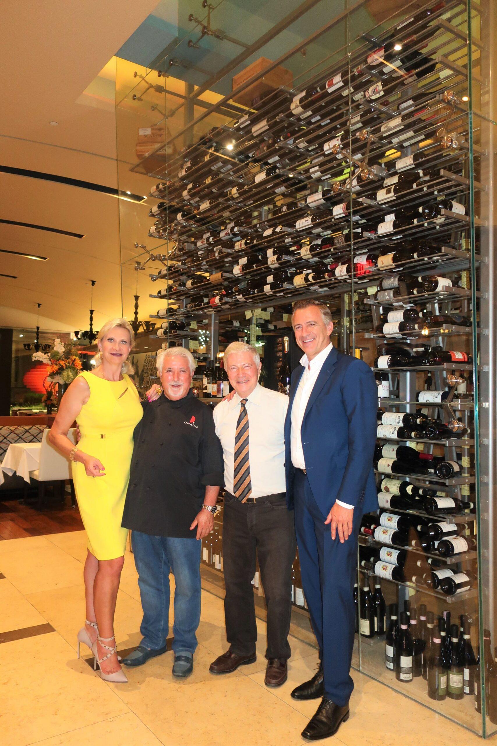 Chef Celestino Drago, Managing partner Piero Selvaggio, GAYOT's Wine & Spirits Editor Dirk Smits, Sophie Gayot