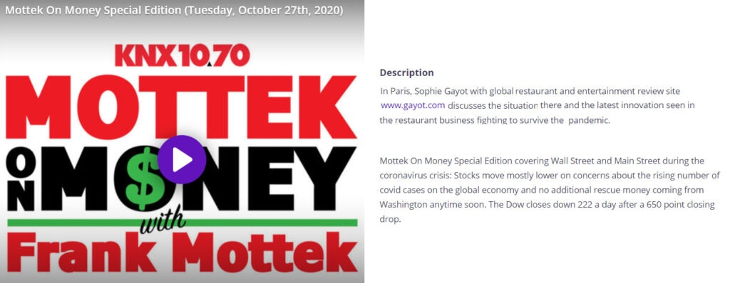 Sophie Gayot Radio Interview Mottek On Money Oct 27 20