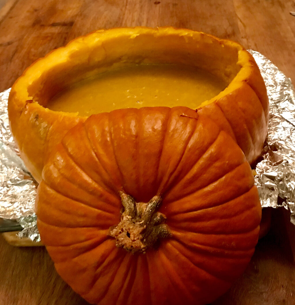 Pour the soup back in the pumpkin