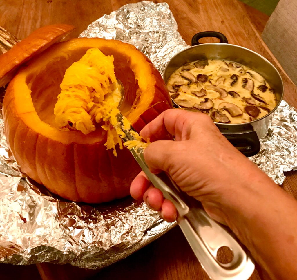Scrape the pumpkin pulp