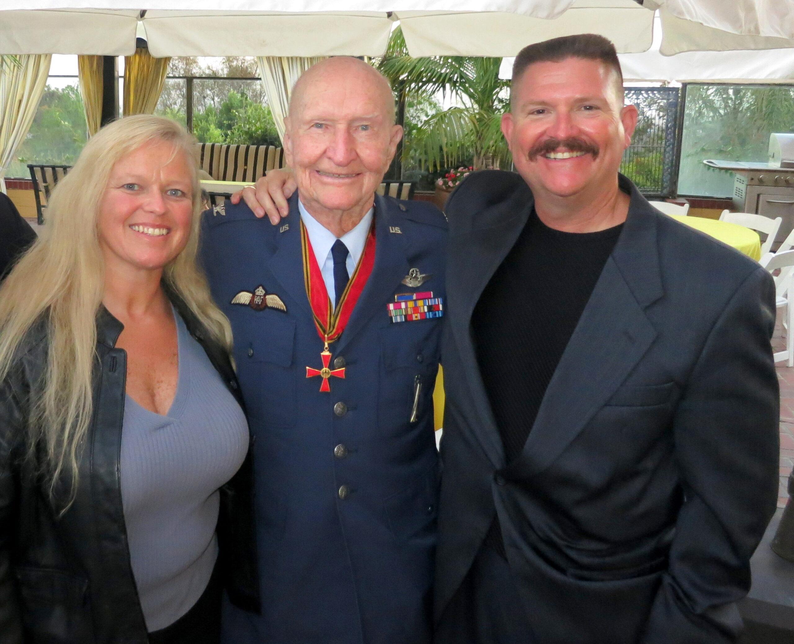 Colonel Gail S. Halvorsen with Mr. & Mrs. Stout