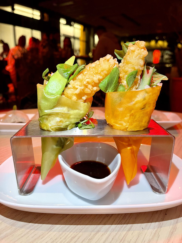 Sushi cones, tempura prawn, avocado, spicy mayo, tobiko