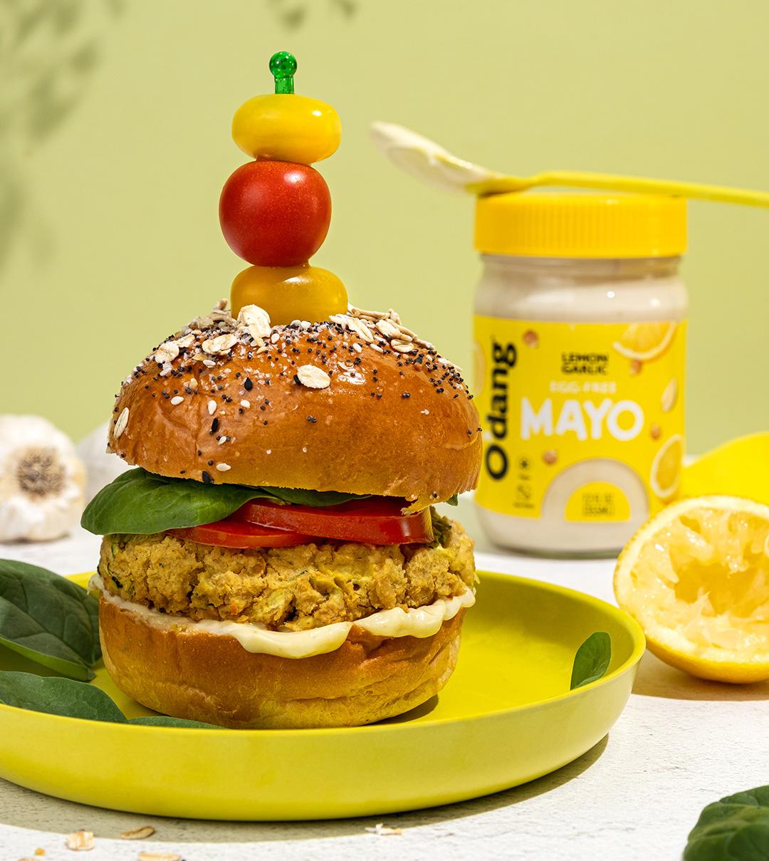 Zucchini chickpea vegan burger