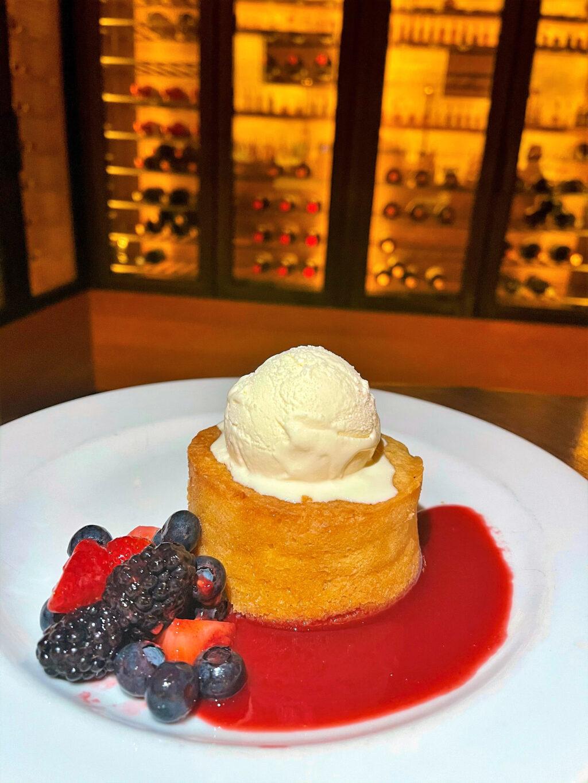 Warm Butter Cake: fresh berries, vanilla ice cream, raspberry sauce