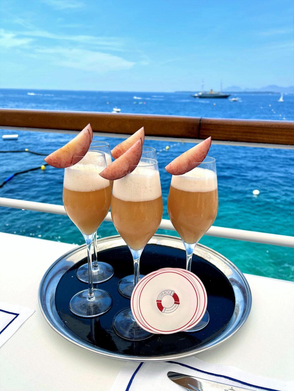 Fresh peach champagne Bellini