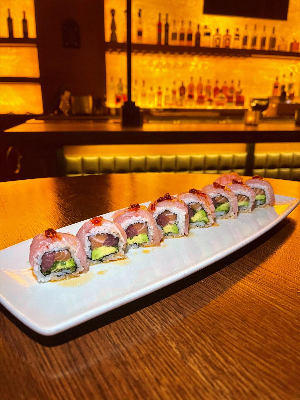 Ocean Roll: tuna, salmon, hamachi, avocado, chili garlic oil