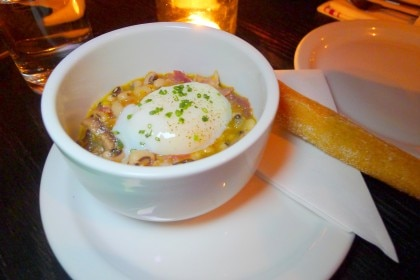 Texas caviar (black-eyed peas, poached egg and smoked ham hock)