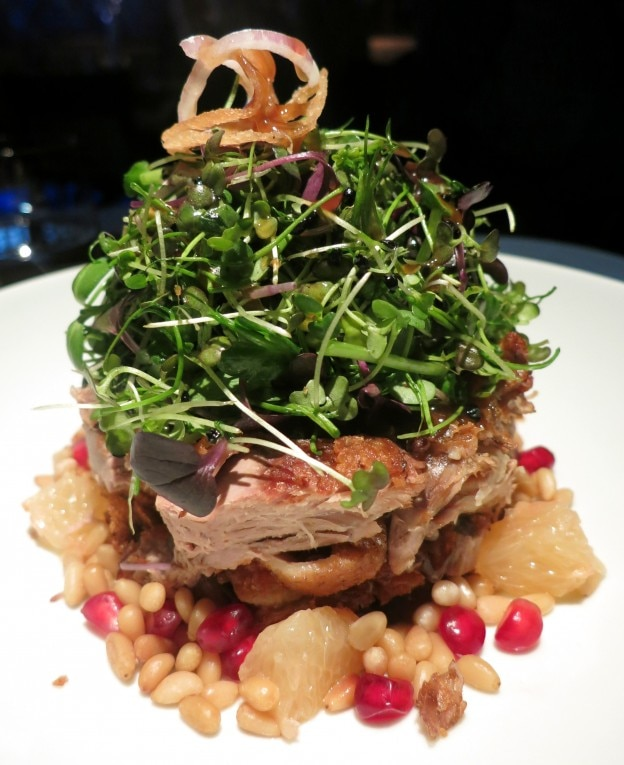 Crispy duck salad, with pomegranate, pine nut and shallot