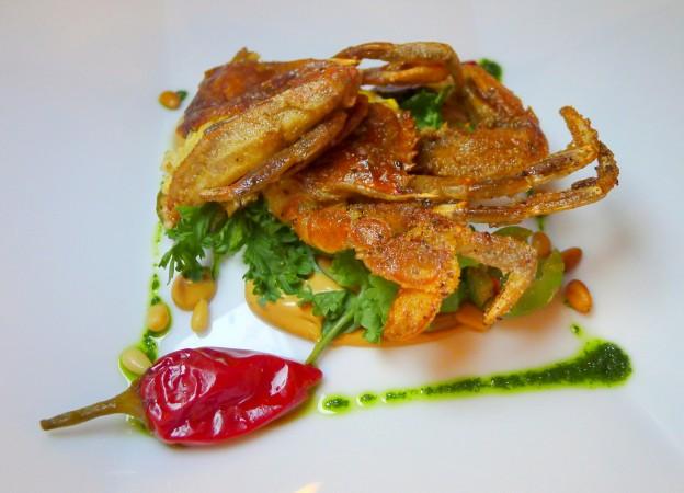 Semolina fried soft shell crab