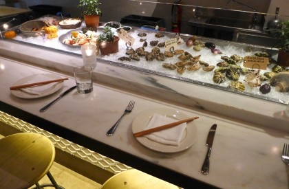 Chilled seafood bar at Cassia restaurant in Santa Monica, CA
