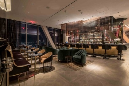 A view of the bar from the dining room